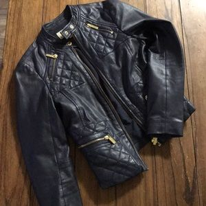 Michael Kors leather navy jacket SM gold hardware